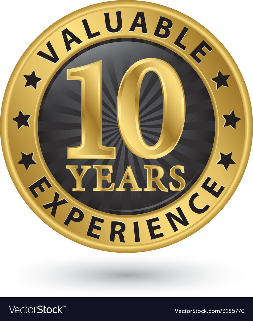 10 years valuable experience gold label vector | Price: 1 Credit (USD $1)