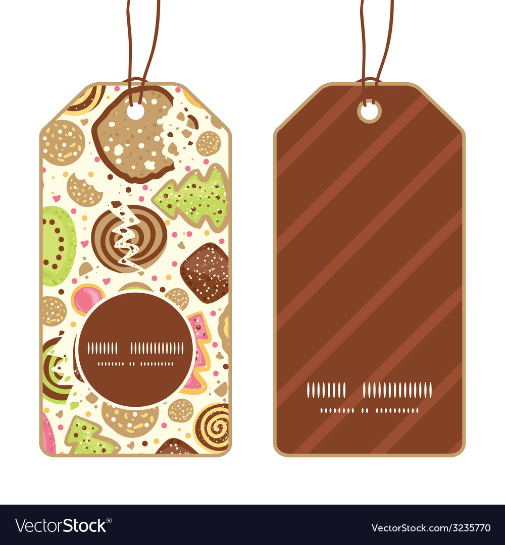 Colorful cookies vertical round frame pattern tags vector | Price: 1 Credit (USD $1)