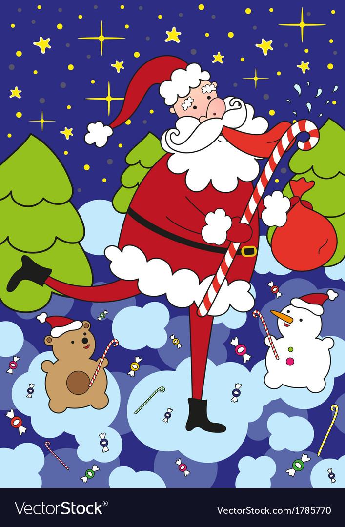 Funny santa claus licks big lollipop vector | Price: 1 Credit (USD $1)