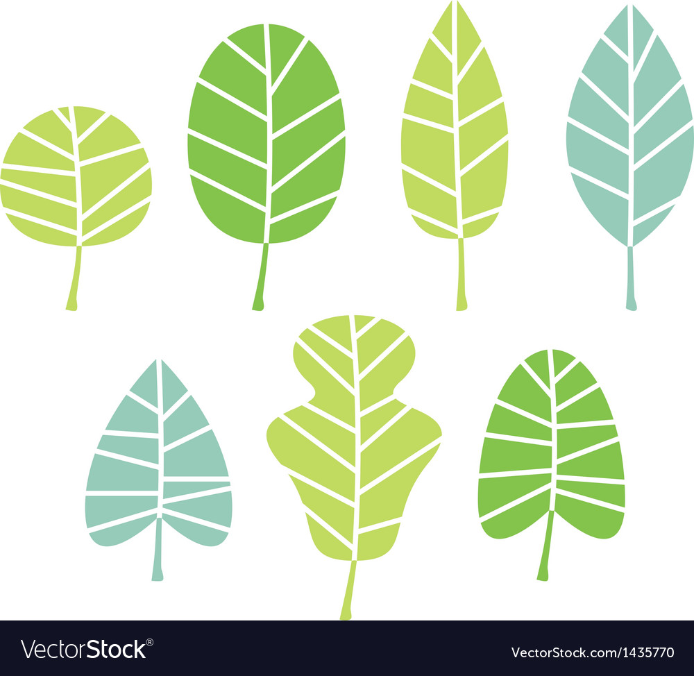 Green tree leaves collection isolated on white vector | Price: 1 Credit (USD $1)