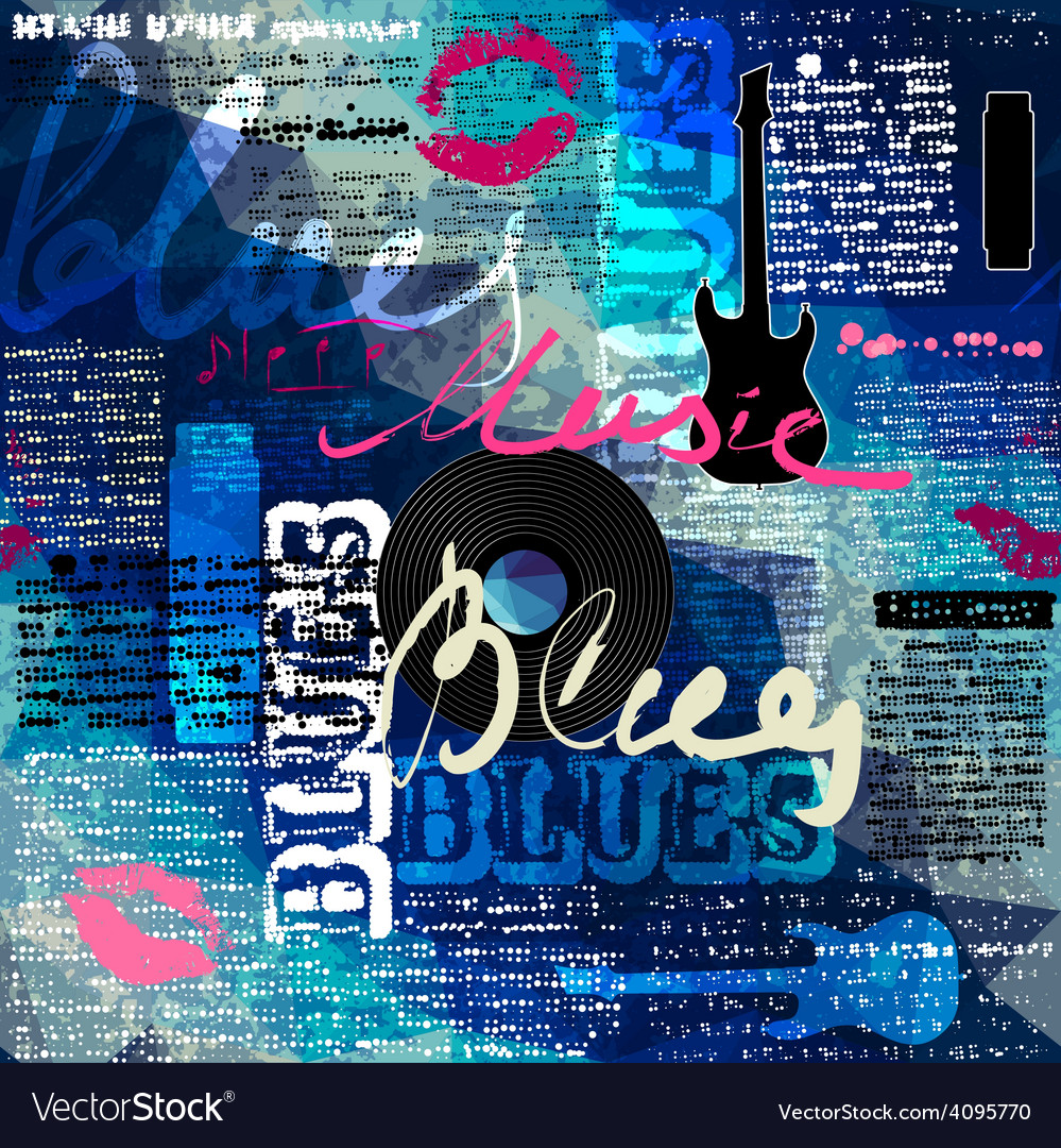 Grunge blue newspaper with original inscriptions vector | Price: 1 Credit (USD $1)