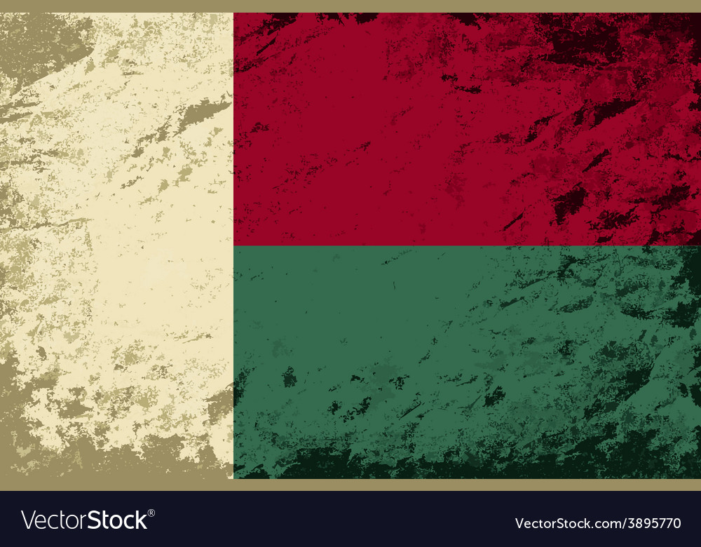 Madagascar flag grunge background vector | Price: 1 Credit (USD $1)