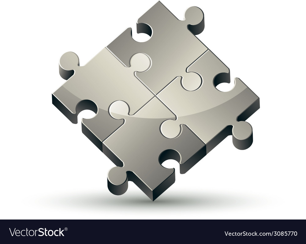 Puzzle icon isolated on white background vector | Price: 1 Credit (USD $1)