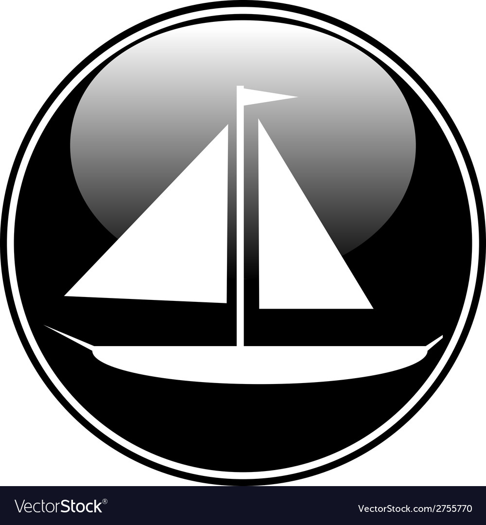 Sailing ship button vector | Price: 1 Credit (USD $1)