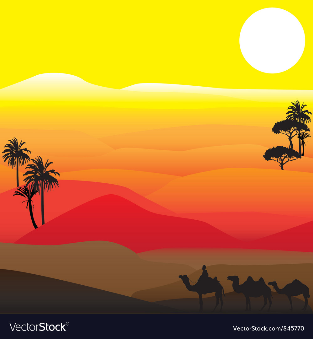Silhouettes of african desert vector | Price: 1 Credit (USD $1)