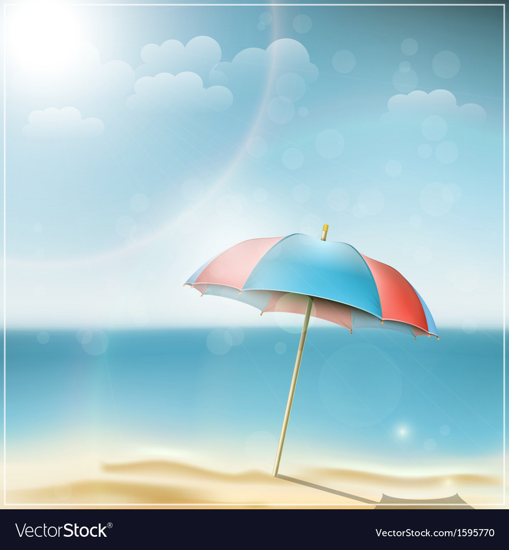 Summer day on ocean beach with umbrella vector | Price: 1 Credit (USD $1)