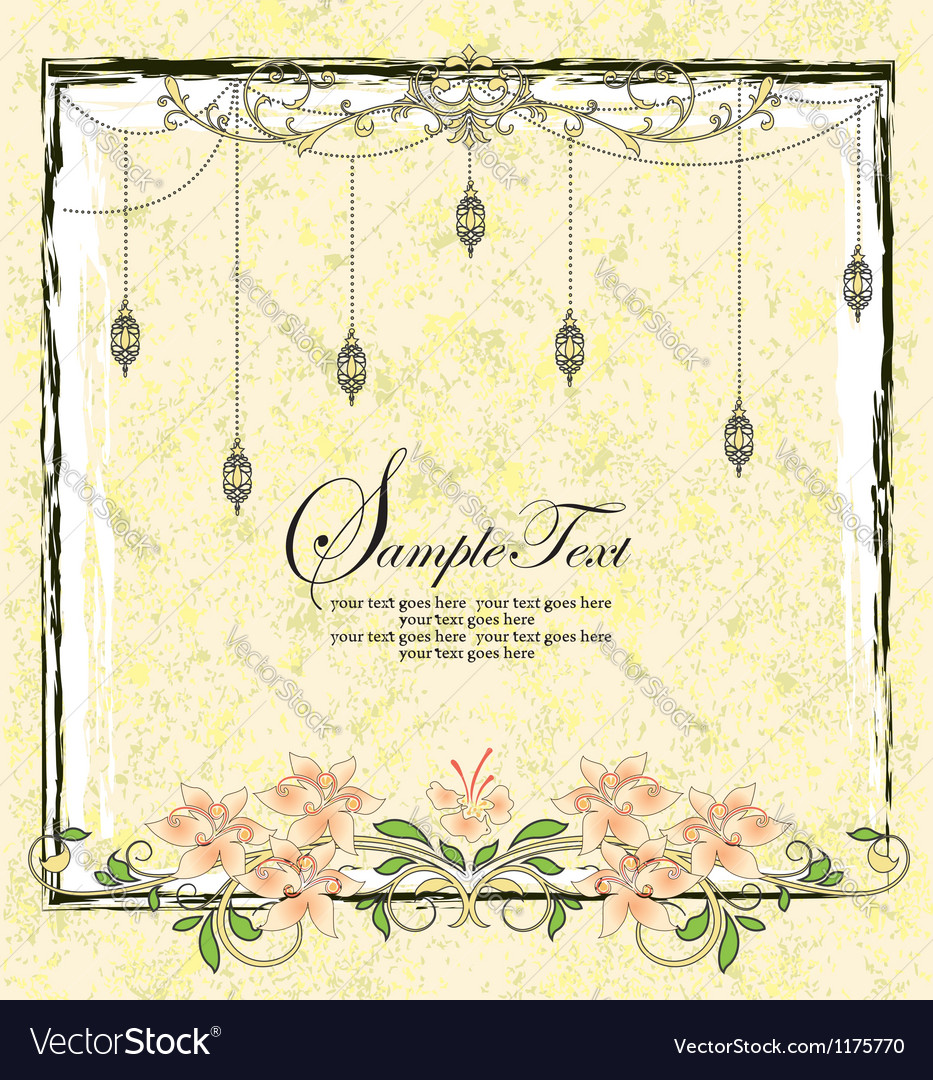 Vintage floral announcement card vector | Price: 1 Credit (USD $1)