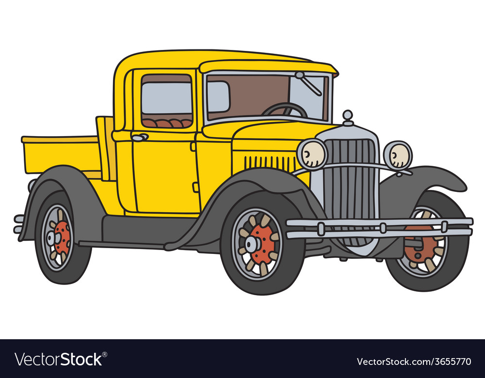 Yellow vintage pick-up vector | Price: 1 Credit (USD $1)