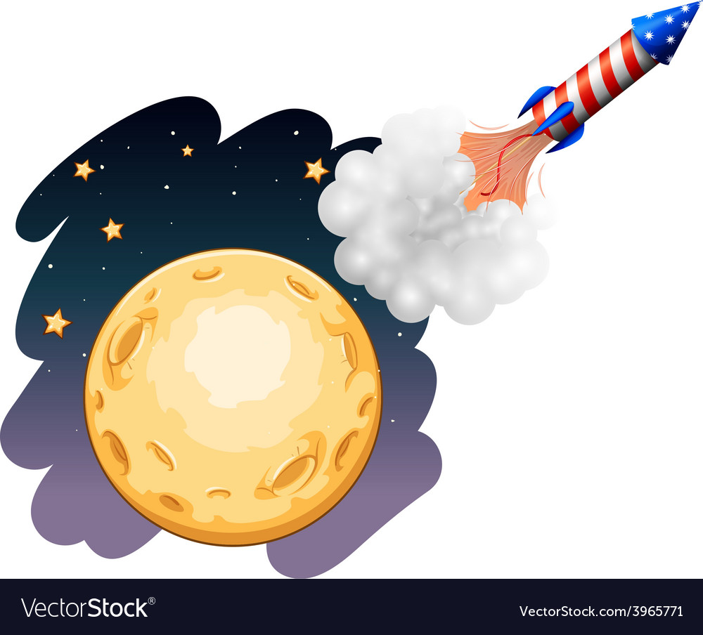 A rocket near the moon vector | Price: 1 Credit (USD $1)