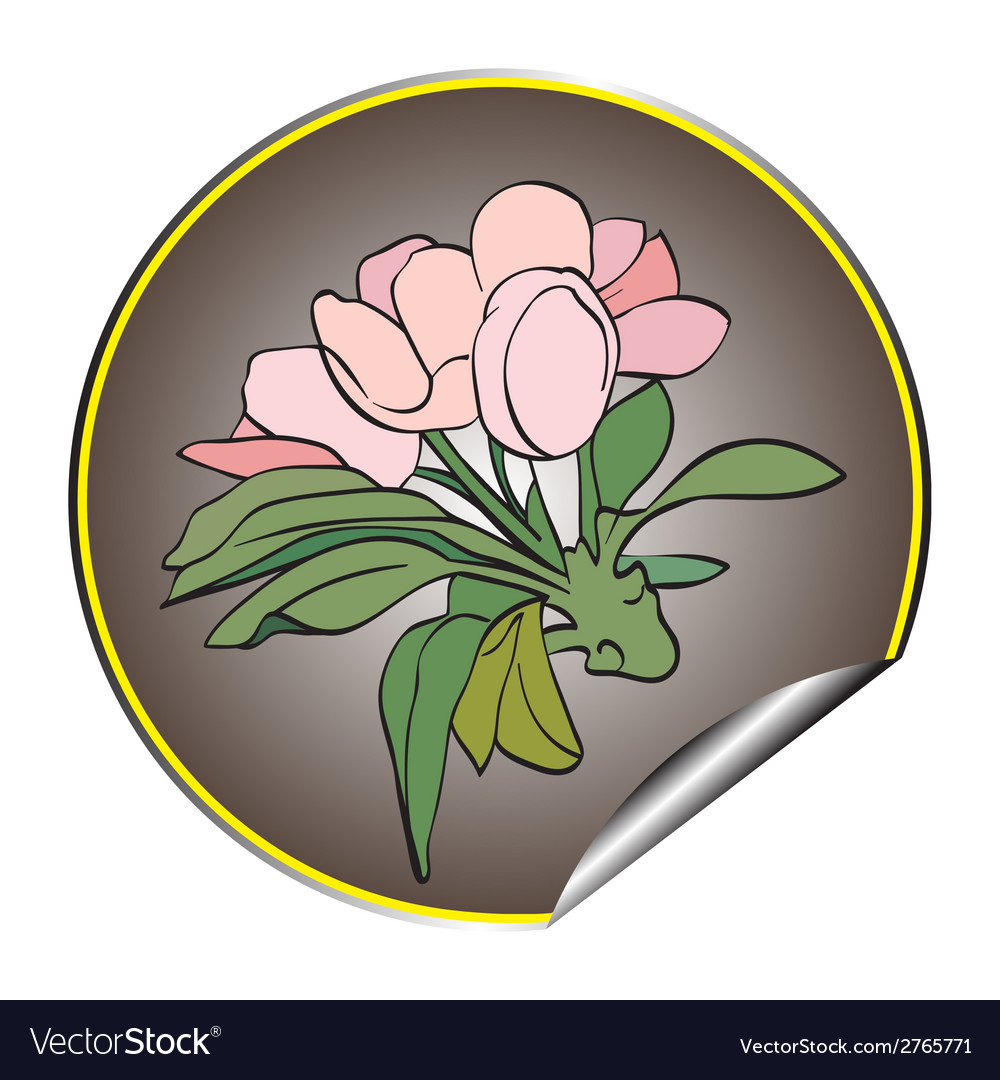 Apple flower sticker grey vector | Price: 1 Credit (USD $1)