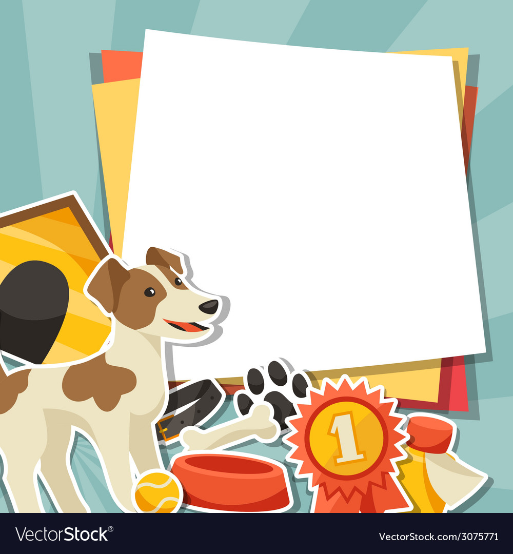 Background with cute sticker dog icons and objects vector | Price: 1 Credit (USD $1)