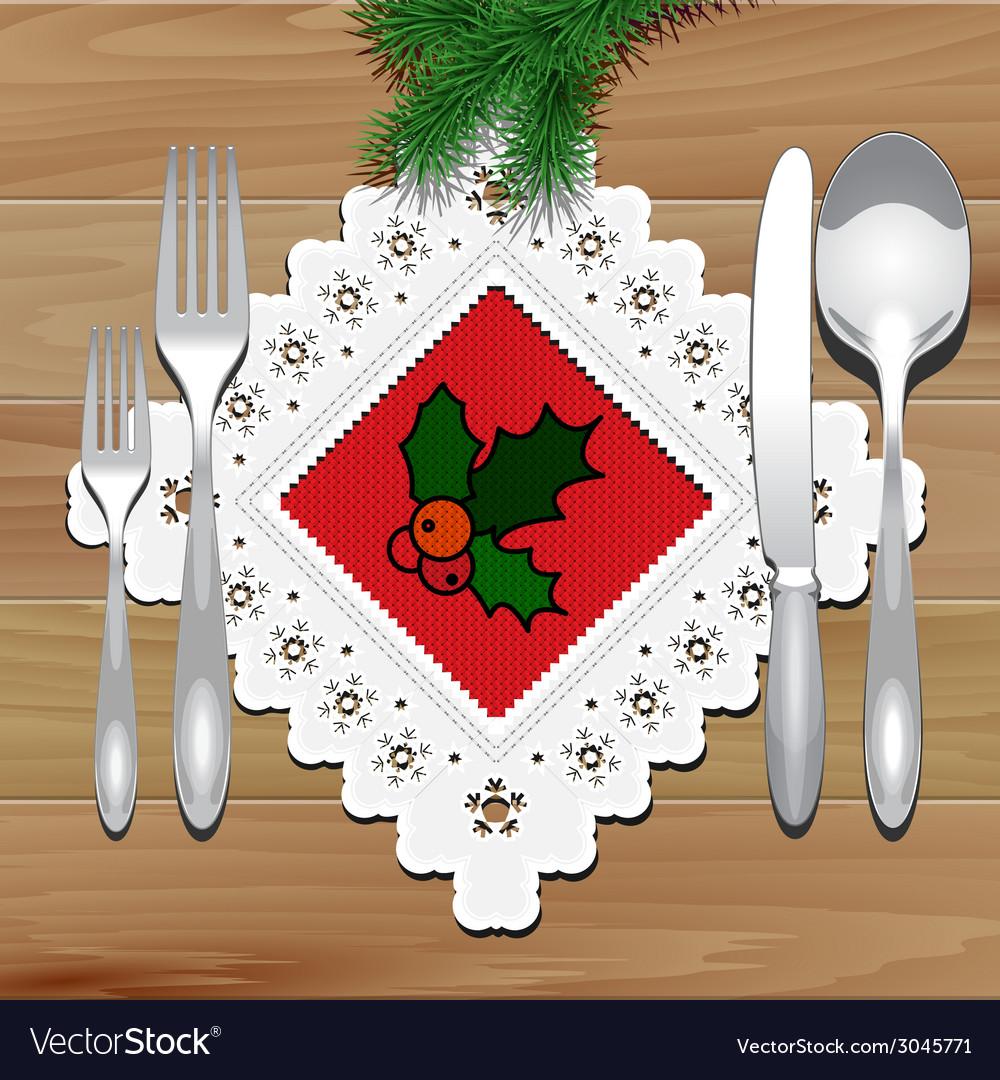Christmas napkin table vector | Price: 1 Credit (USD $1)