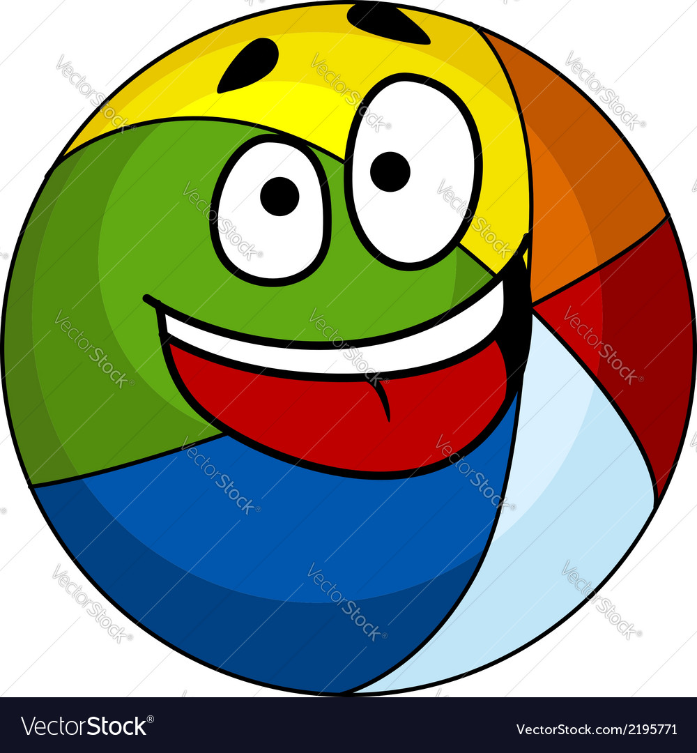 Colorful laughing cartoon beach ball vector | Price: 1 Credit (USD $1)