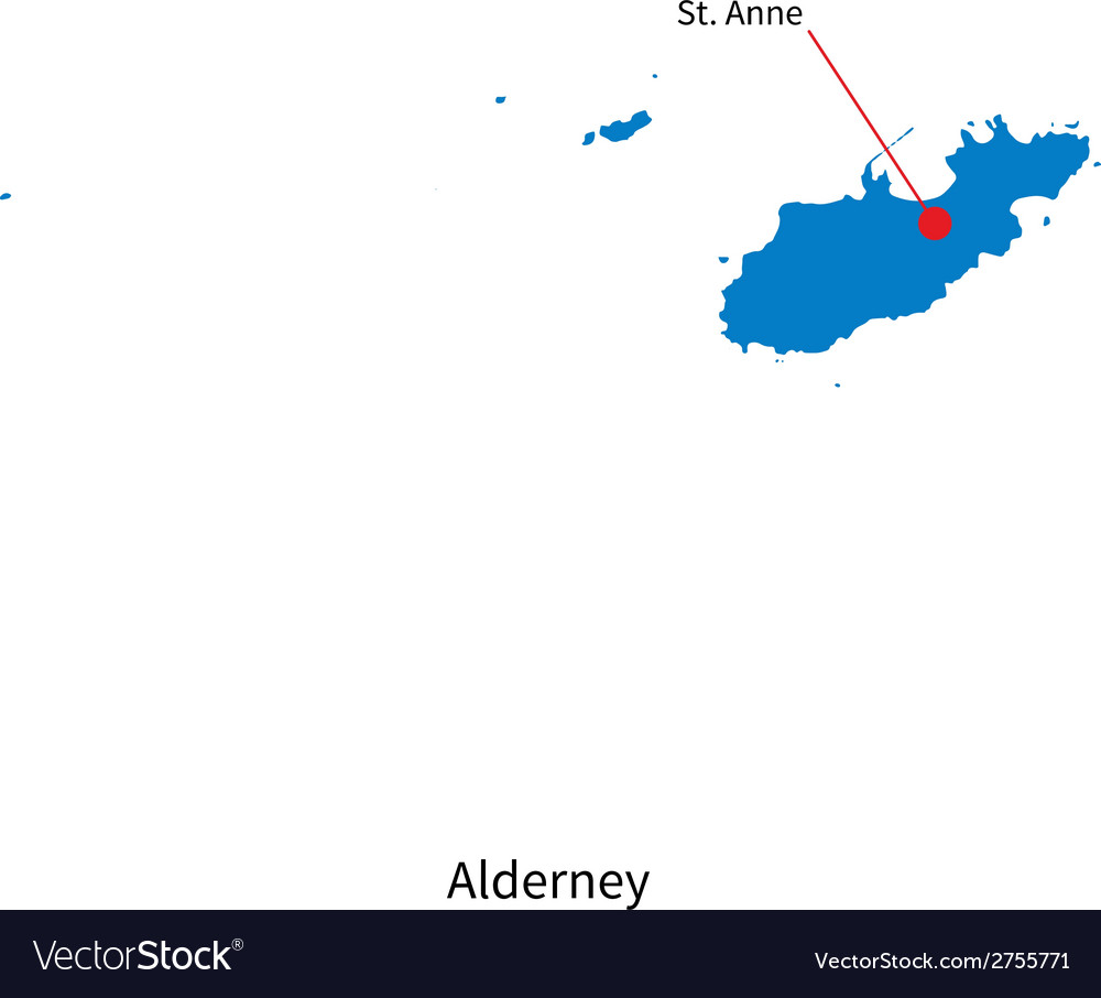 Detailed map of alderney and capital city st anne vector | Price: 1 Credit (USD $1)