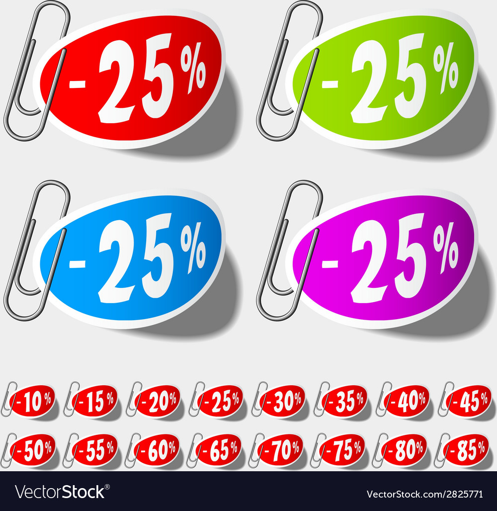 Discount percent labels vector | Price: 1 Credit (USD $1)