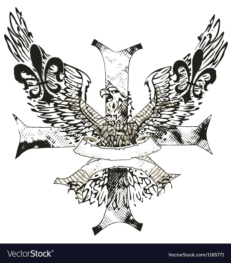 Eagles cross and shield emblem vector | Price: 1 Credit (USD $1)
