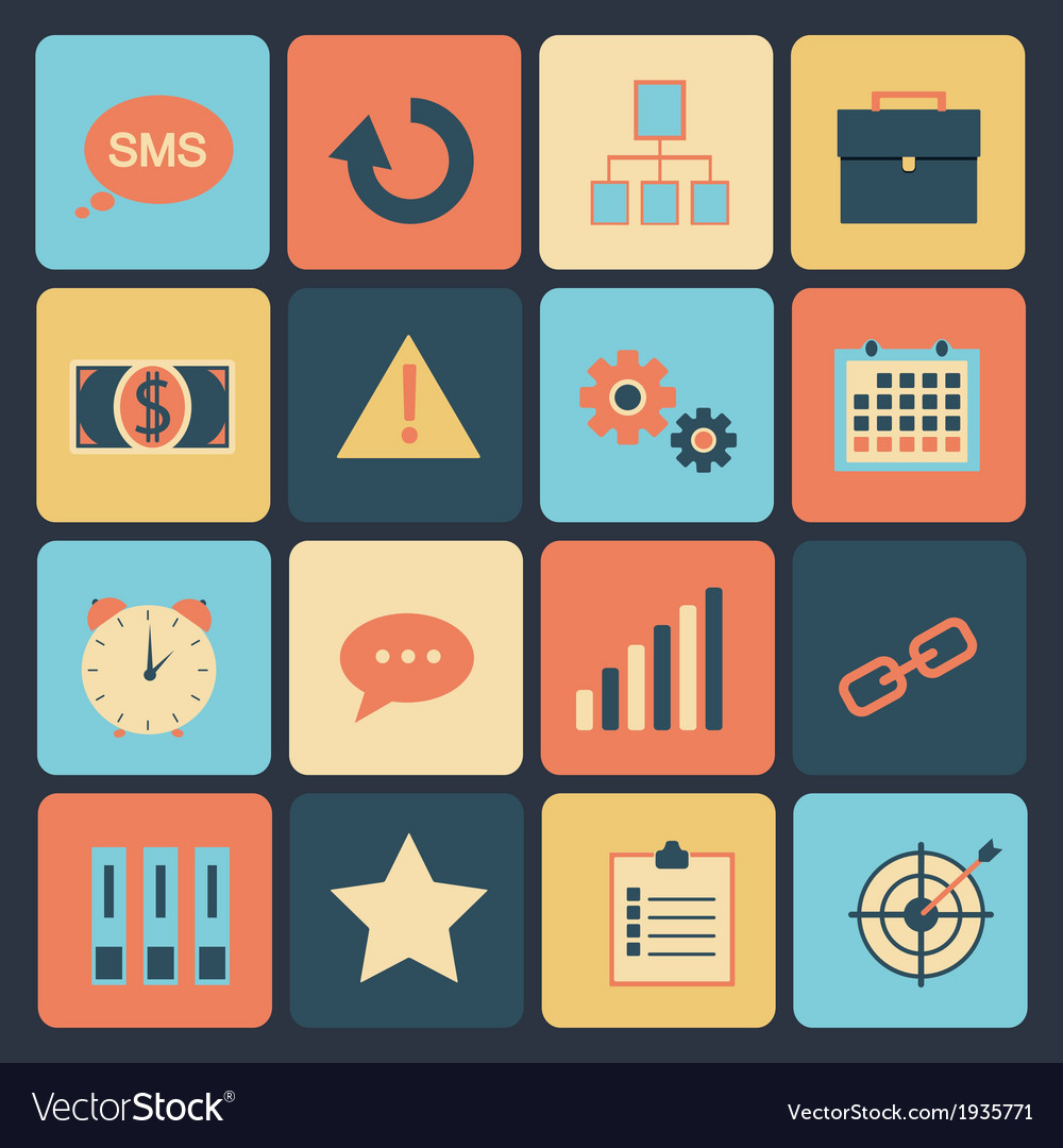 Flat set of modern icons vector | Price: 1 Credit (USD $1)
