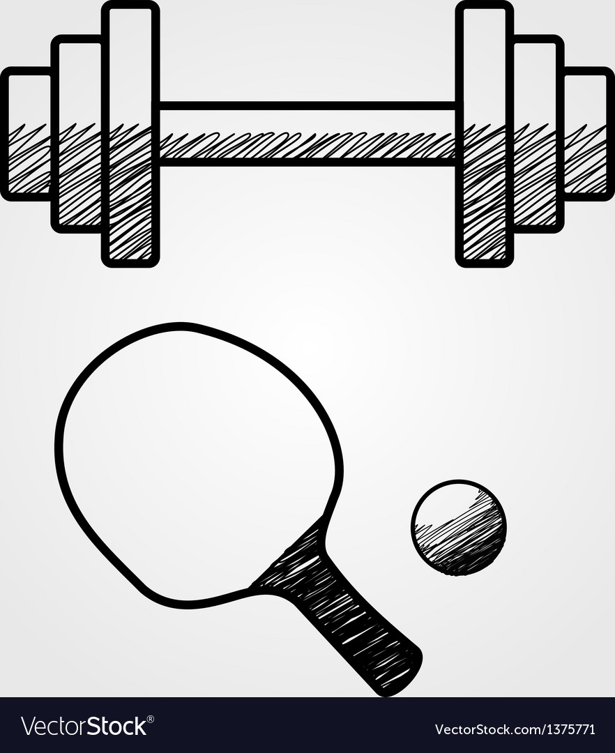 Hand drawn sports equipment vector | Price: 1 Credit (USD $1)