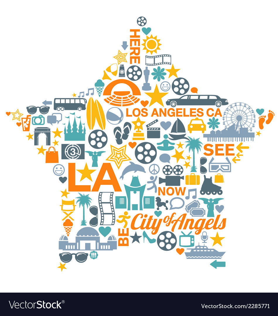 Los angeles california icons symbols landmarks vector | Price: 1 Credit (USD $1)