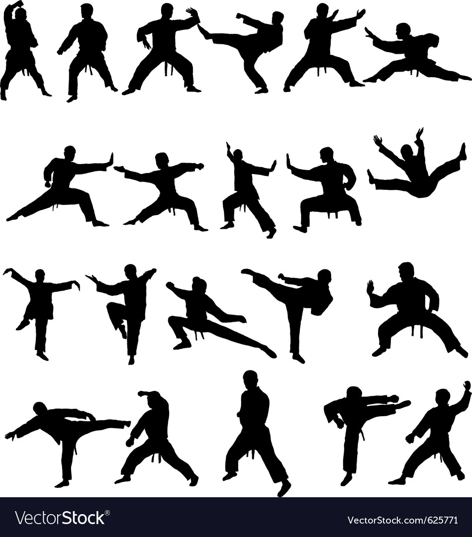 Martial arts silhouettes vector | Price: 1 Credit (USD $1)