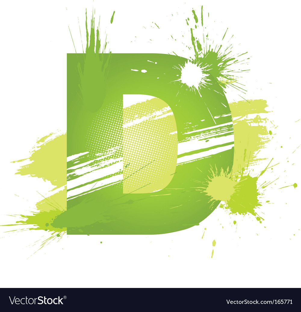 Paint splashes font letter d vector | Price: 1 Credit (USD $1)