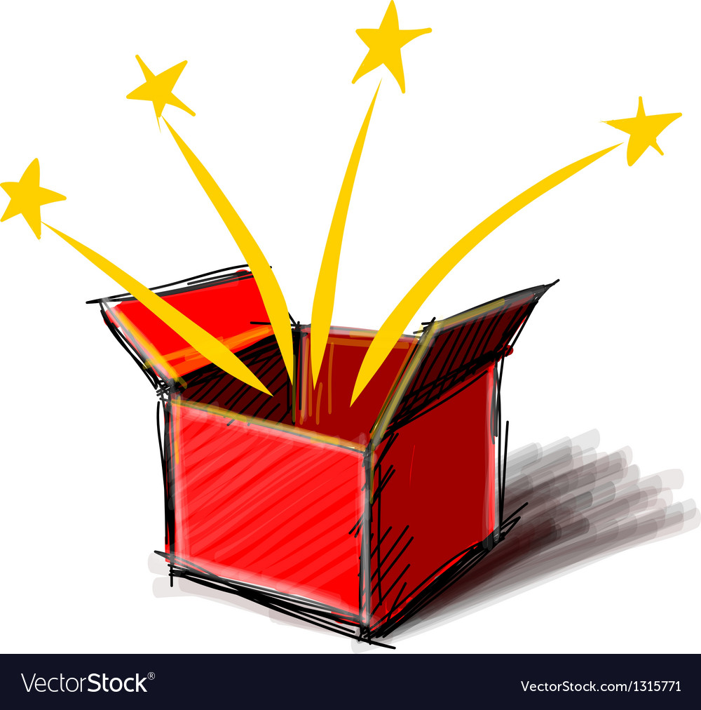 Present box cartoon sketch vector | Price: 1 Credit (USD $1)