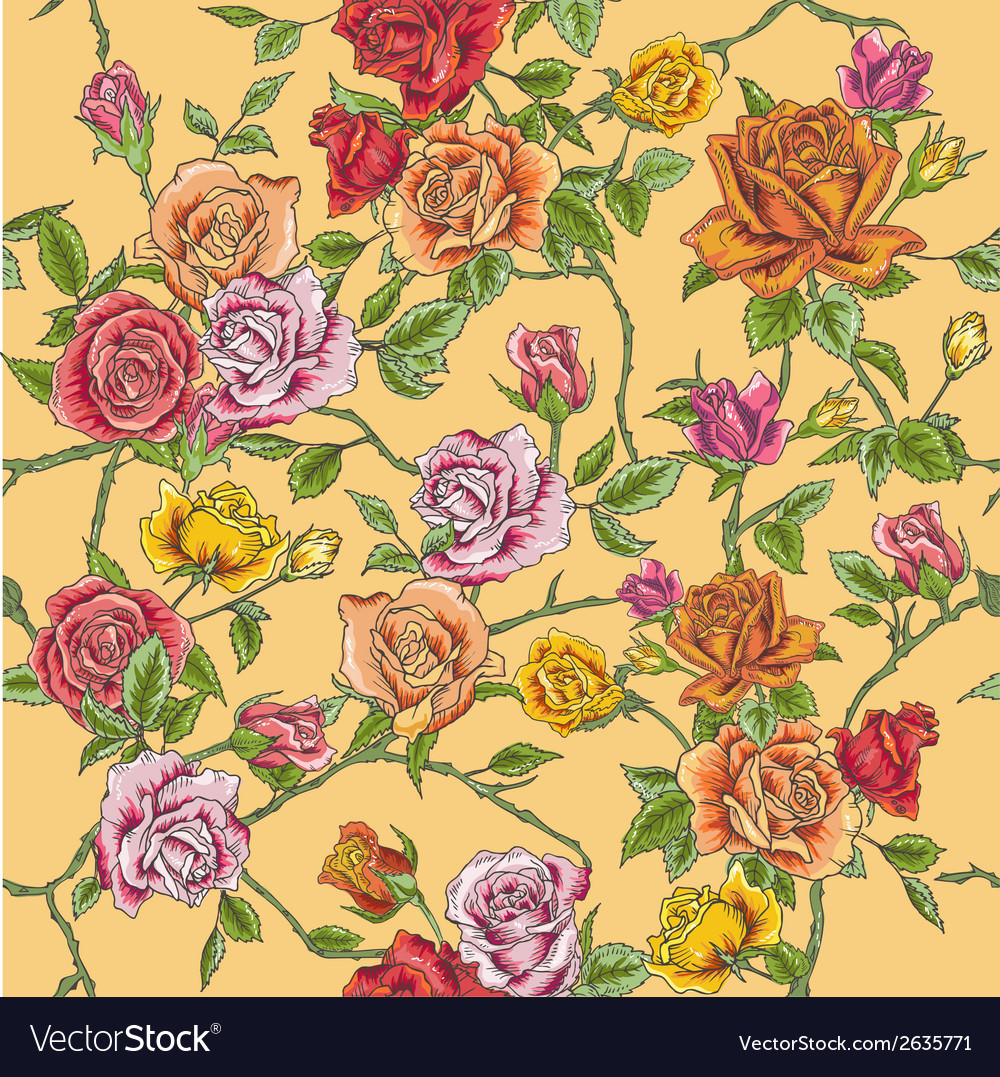 Seamless floral roses background vector | Price: 1 Credit (USD $1)