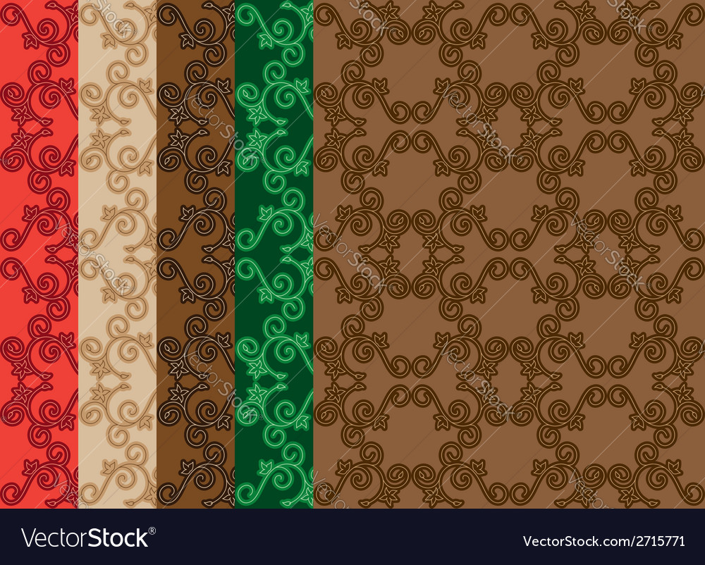 Set - floral seamless decorative patterns vector | Price: 1 Credit (USD $1)