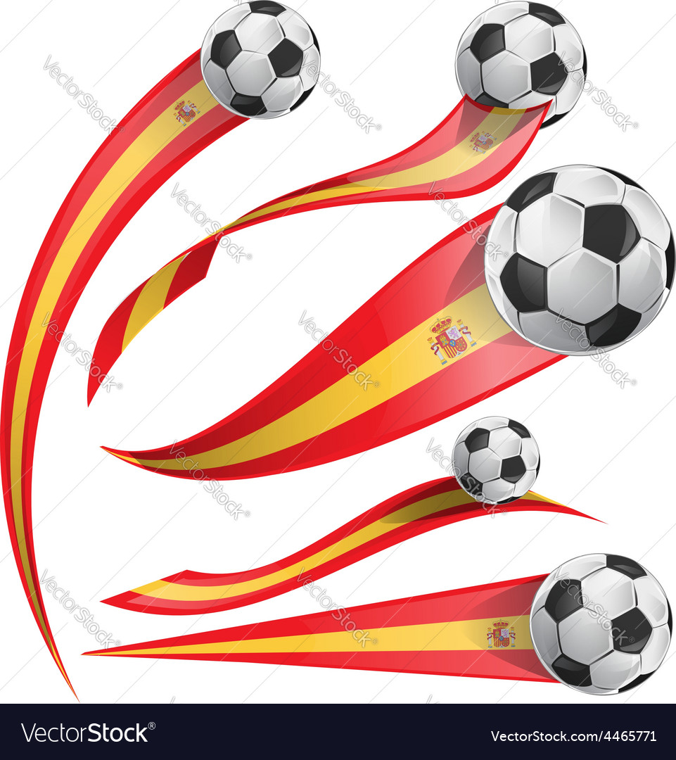 Spain flag set with soccer ball vector | Price: 1 Credit (USD $1)