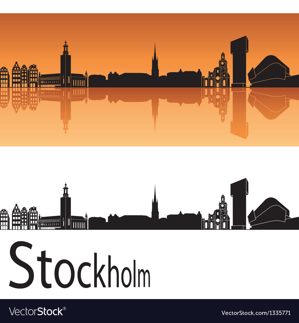Stockholm skyline in orange background vector | Price: 1 Credit (USD $1)