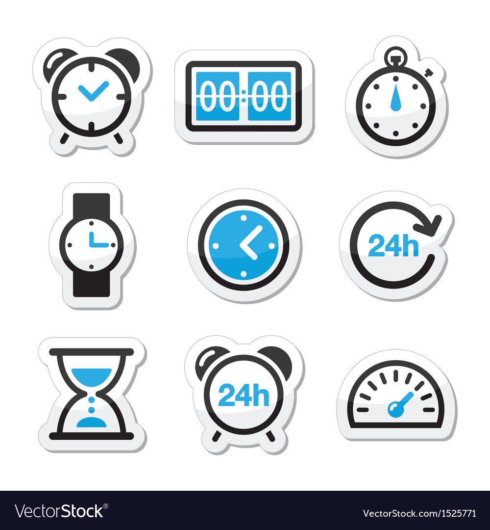 Time clock icons set vector | Price: 1 Credit (USD $1)