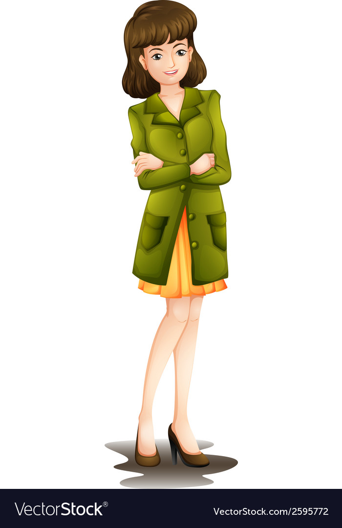 A young woman wearing a green blazer vector | Price: 1 Credit (USD $1)