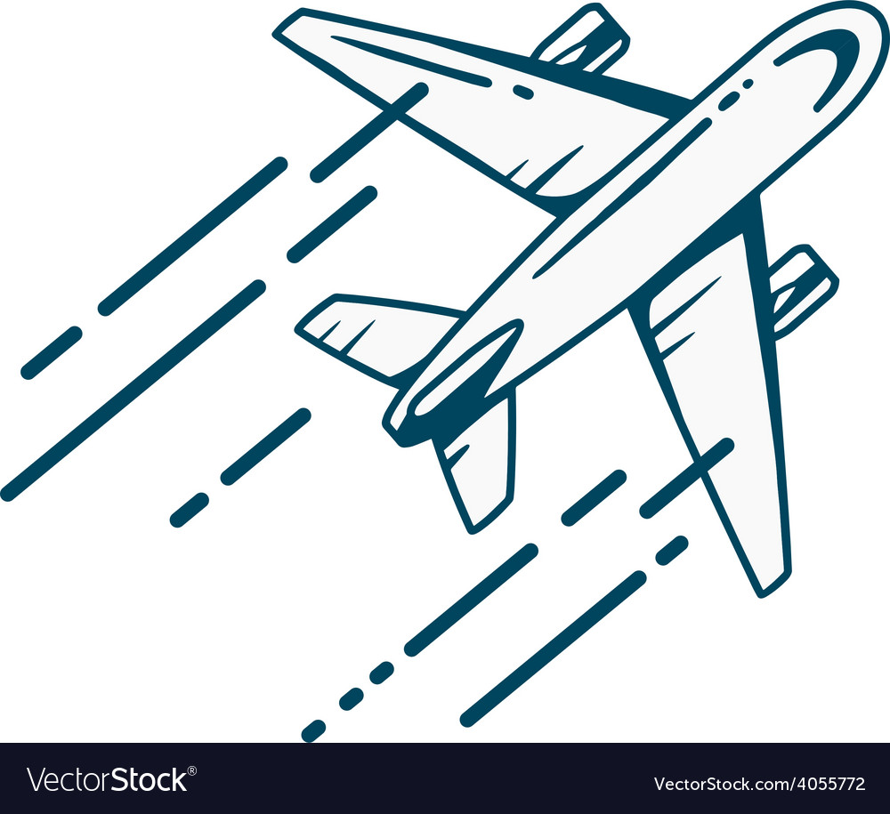 Airplane flying right up leaving a trail vector | Price: 1 Credit (USD $1)