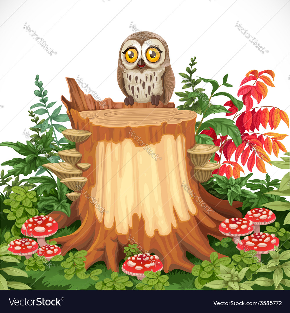 Cute owl sitting on stump surrounded by toadstools vector | Price: 5 Credit (USD $5)