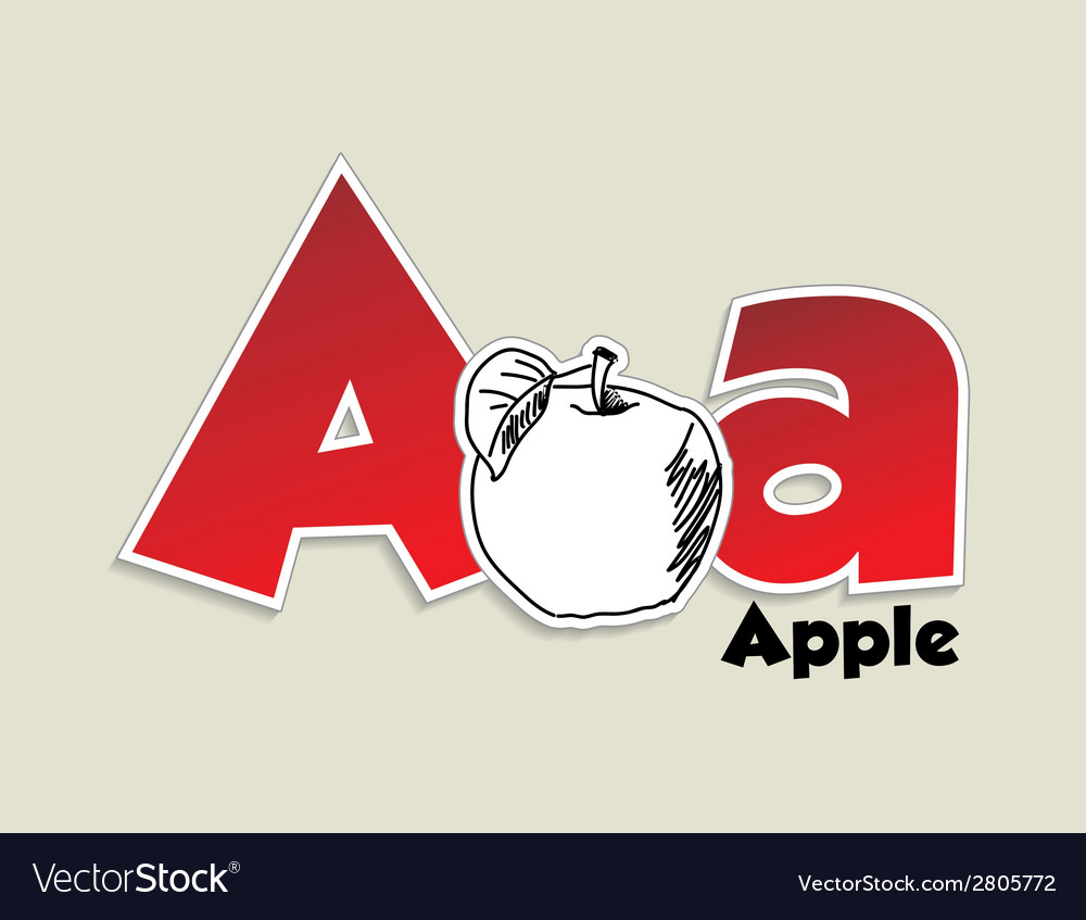 Fruits and vegetables alphabet - letter a vector | Price: 1 Credit (USD $1)