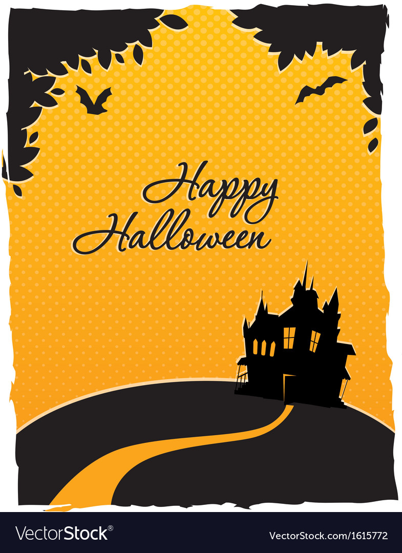 Happy halloween card with castle vector | Price: 1 Credit (USD $1)