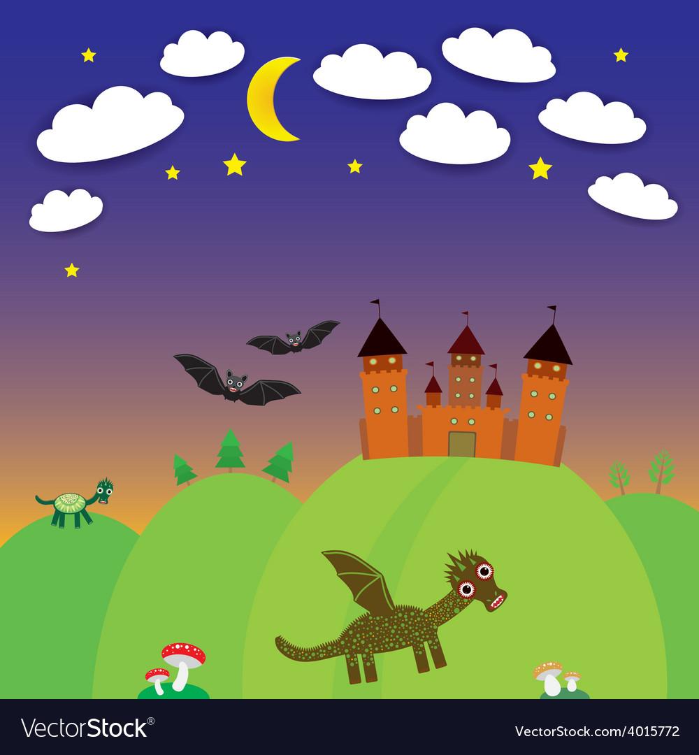 Landscape with castle wizard cartoon dragon bats vector   Price: 1 Credit (USD $1)