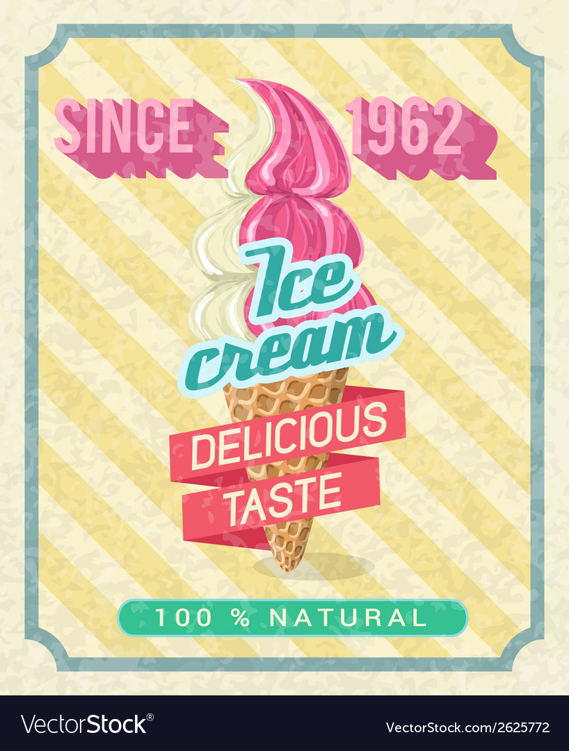 Poster with strawberry ice-cream vector | Price: 1 Credit (USD $1)