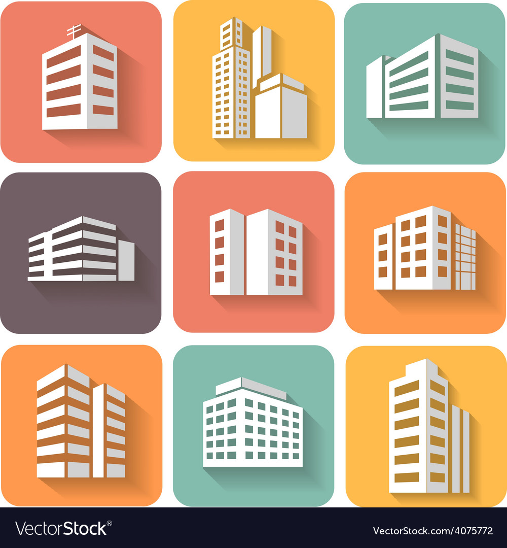 Set of dimensional buildings icons with shadow vector | Price: 1 Credit (USD $1)