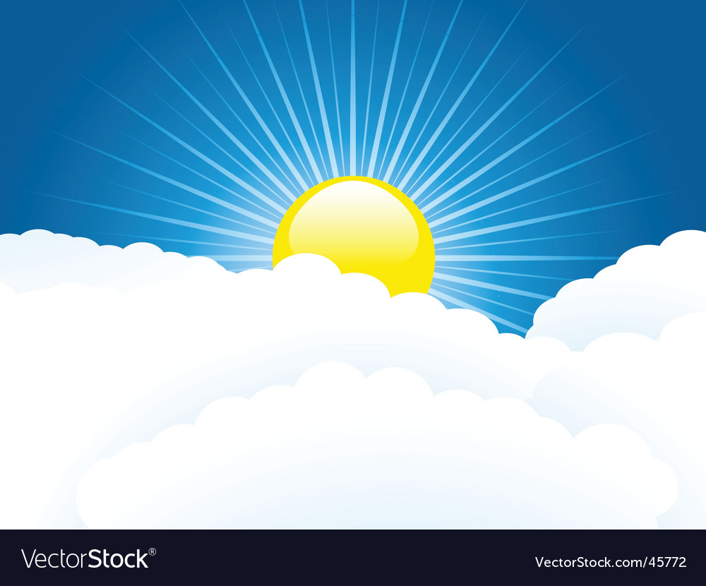 Sun and clouds vector | Price: 1 Credit (USD $1)