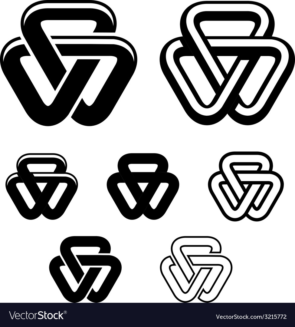 Unity triangle black white symbols vector | Price: 1 Credit (USD $1)