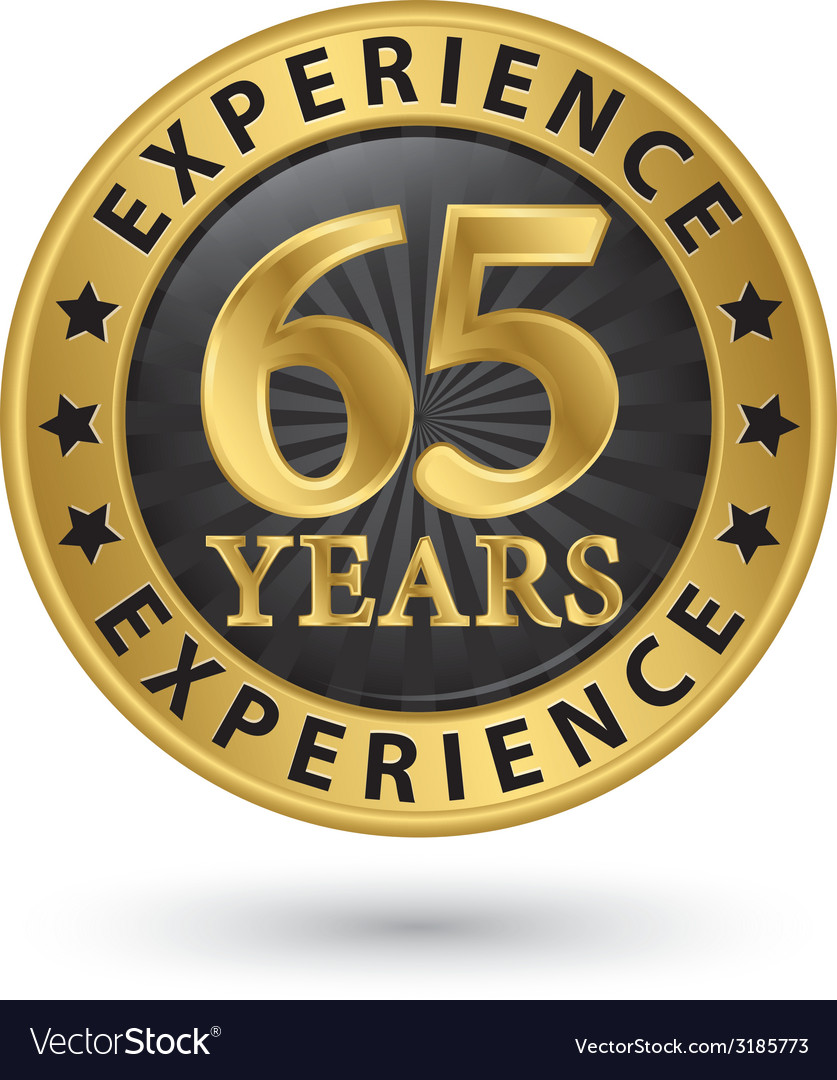 65 years experience gold label vector | Price: 1 Credit (USD $1)