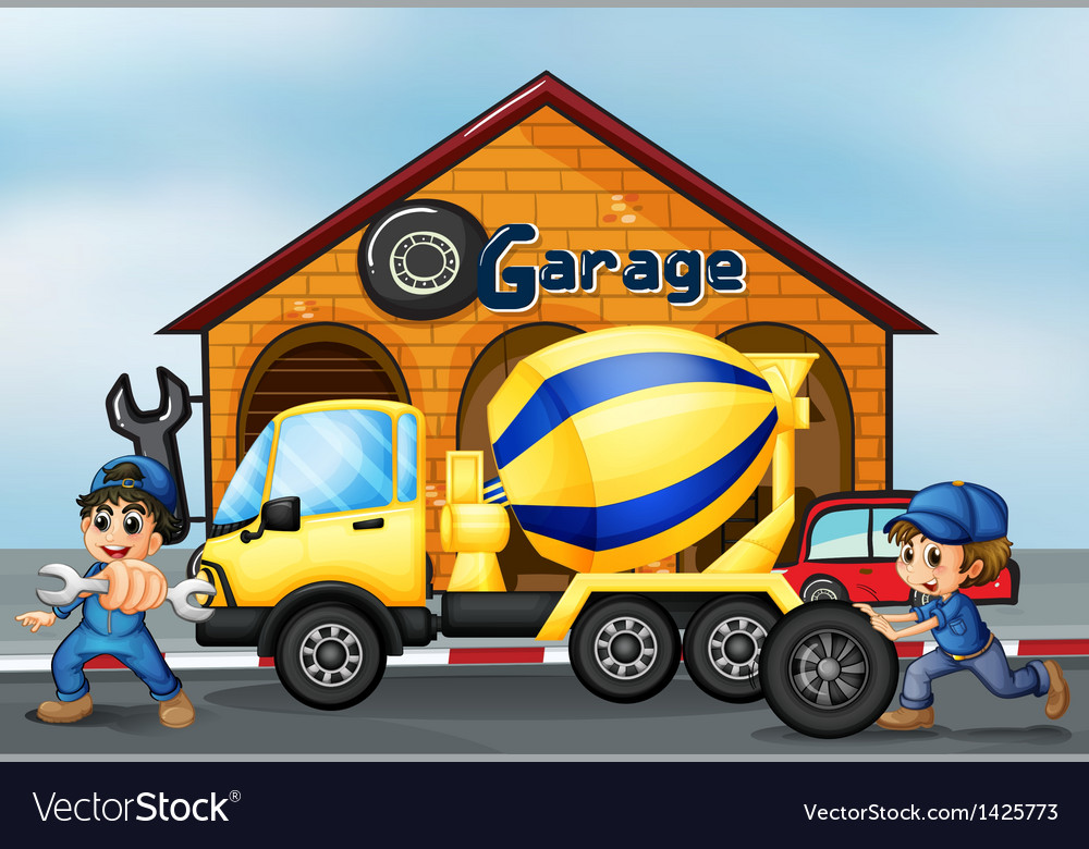 A cement truck in front of the garage vector | Price: 1 Credit (USD $1)