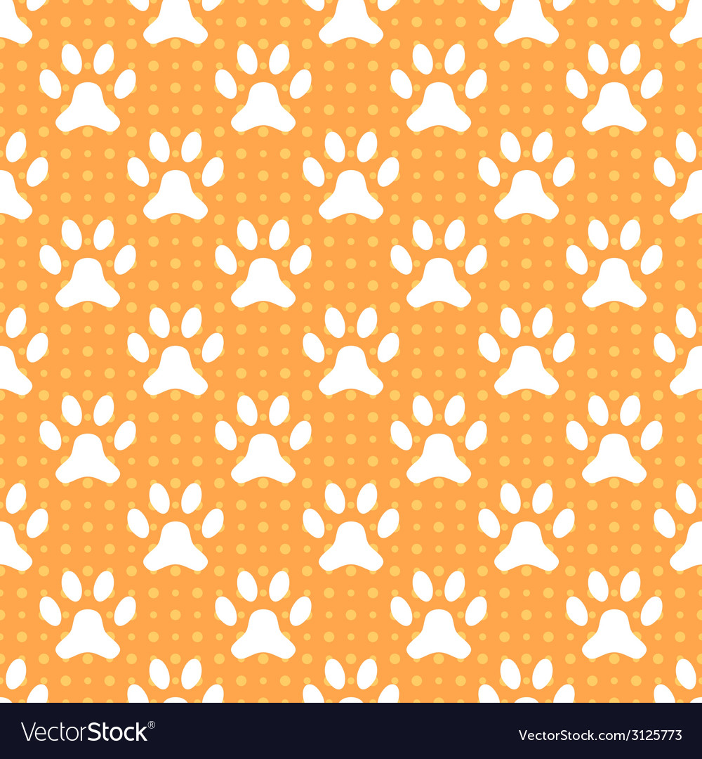 Animal seamless pattern of paw footprint and dot vector | Price: 1 Credit (USD $1)