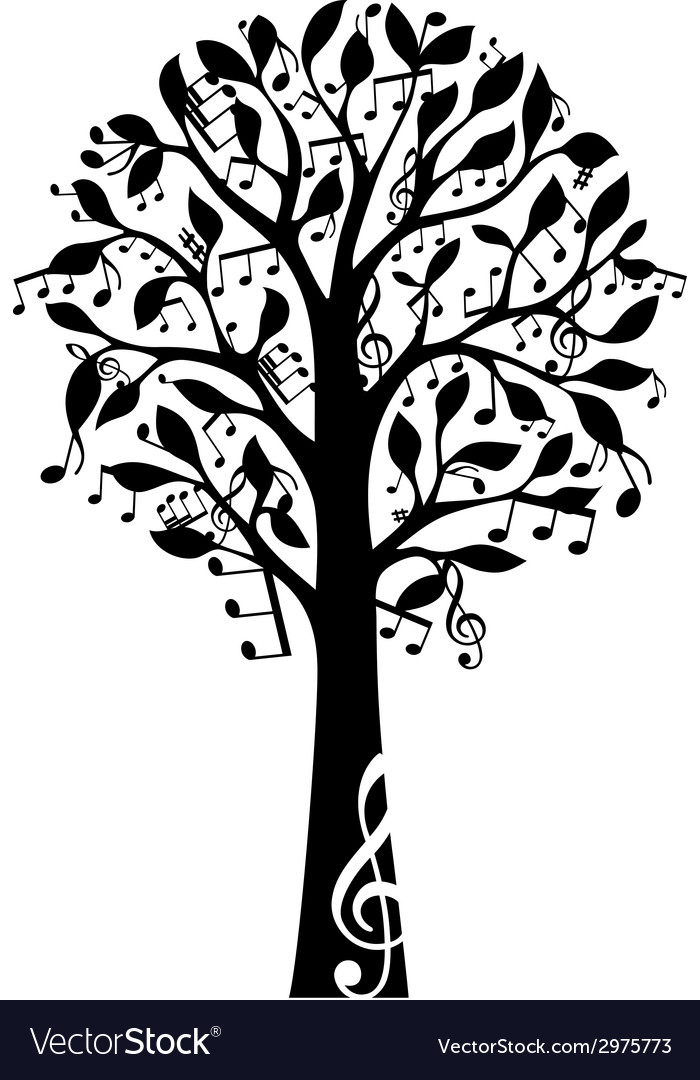 Black music tree isolated on white background vector | Price: 1 Credit (USD $1)
