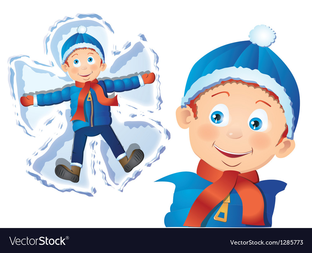 Boy making snow angel vector | Price: 1 Credit (USD $1)