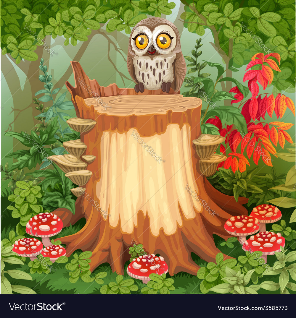 Fairy forest glade with cute owl sitting on stump vector | Price: 5 Credit (USD $5)