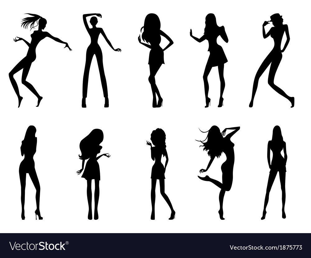 Fashionable model silhouettes vector | Price: 1 Credit (USD $1)