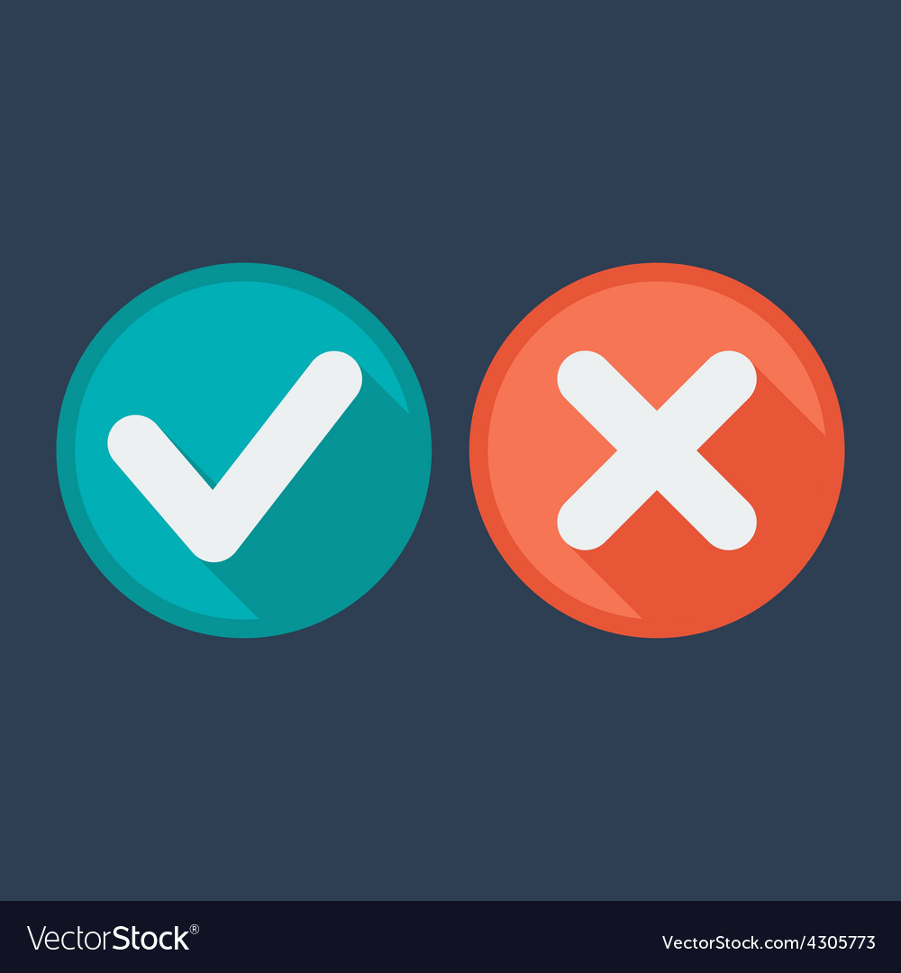 Flat style icons check and cross marks vector