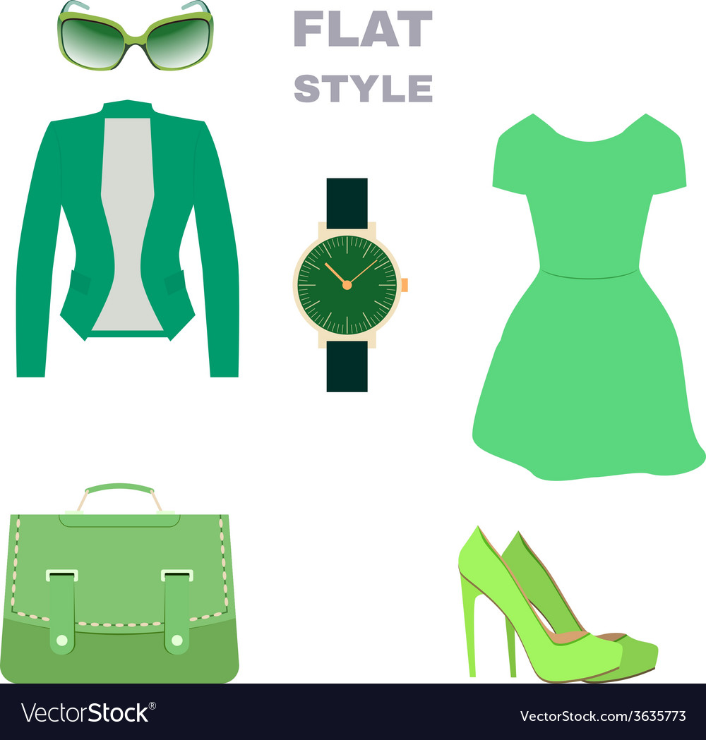 Flat style womans look fashion wear vector | Price: 1 Credit (USD $1)